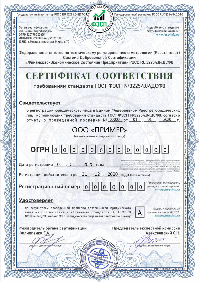 Сертификат оценки ФЭСП. Экономический паспорт предприятия